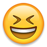 Smiling Face With Open Mouth And Tightly-closed Eyes Emoji (Apple/iOS Version)