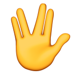Raised Hand With Part Between Middle And Ring Fingers Emoji Icon