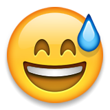 Smiling Face With Open Mouth And Cold Sweat Emoji (Apple/iOS Version)