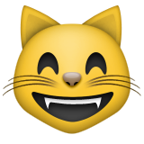 Grinning Cat Face With Smiling Eyes Emoji (Apple/iOS Version)