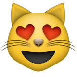 Smiling Cat Face With Heart-shaped Eyes Emoji (Apple/iOS Version)
